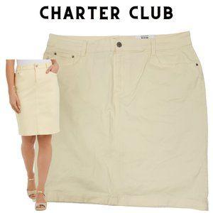 CHARTER CLUB Lt Pineapple Yellow Denim Skirt 16